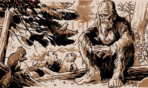 Drawing of a bigfoot sad on a log