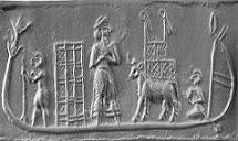 Sumerian sled boat with animals on board